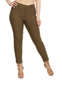 Plus Size Push Up Stretch Pants - OLIVE - 1874061650198