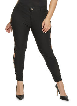 Skinny Jeans with Lattice Cutout Sides - 1874061650585