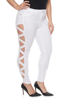 Skinny Jeans with Lattice Cutout Sides - WHITE - 1874061650585