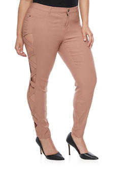 Plus Size Skinny Pants with Lattice Sides - 1874061650585