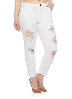 Plus Size 5 Pocket Distressed Ankle Pants - 1874061656058