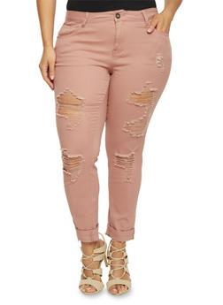 Plus Size 5 Pocket Distressed Ankle Pants - BLUSH - 1874061656058