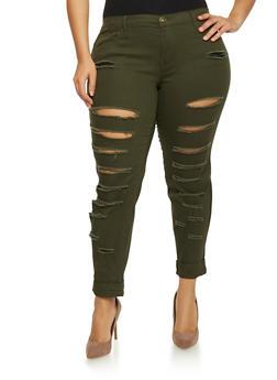 Plus Size Slashed Skinny Pants - 1874061656059