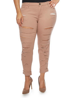 Plus Size Slashed Skinny Pants - 1874061656059