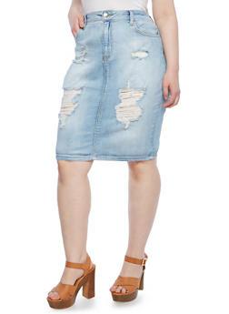 Plus Size Skirt With High Rise Waist And Distressed Denim,LIGHT WASH,medium
