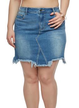 Plus Size Cello Denim Mini Skirt - 1875063156090