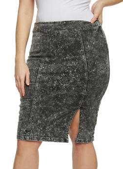 Plus Size VIP Acid Wash Denim Skirt with Front Slit - 1875065307715
