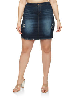 Plus Size Distressed High Low Denim Skirt - 1875072290022