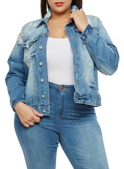 Plus Size Almost Famous Distressed Denim Jacket - 1876015991515