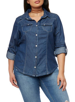 Plus Size Denim Button Front Shirt - 1876051060735