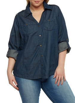 Plus Size Denim Shirt with Cuffed Long Sleeves - 1876051060871