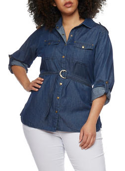 Plus Size Belted Button Front Denim Shirt - 1876051067057