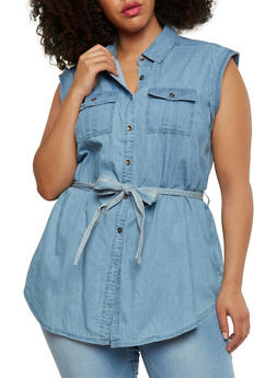 Plus Size Chambray Button Front Shirt with Sash Belt - 1876051067980