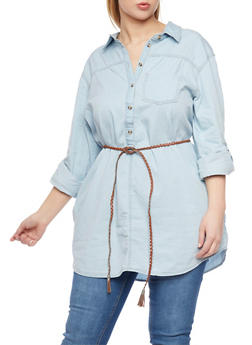 Plus Size Belted Chambray Tunic - 1876051068348