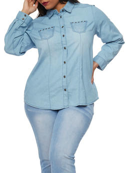 Plus Size Denim Shirt with Grommet Accent - 1876051068572
