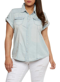 Plus Size Tabbed Short Sleeve Denim Shirt - 1876051068636