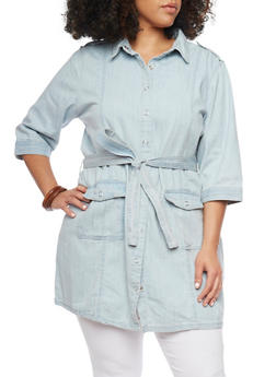 Plus Size Denim Button Up Tunic With Braided Belt - 1876051068637