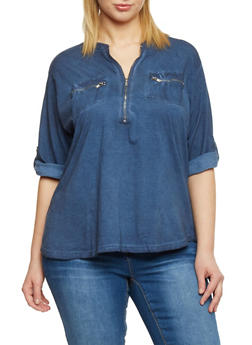 Plus Size Knit Denim Rolled Cuff Shirt with Zipper V Neck - 1876051068658