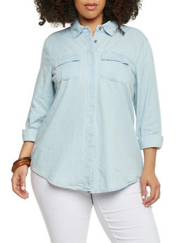 Plus Size Long Sleeve Chambray Double Pleated Pocket Shirt - 1876051068678