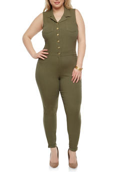 Plus Size Button Front Jumpsuit - 1876056570416