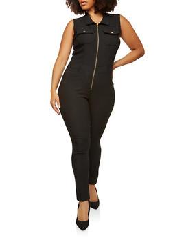 Plus Size Zip Up Stretch Jumpsuit - 1876056571584