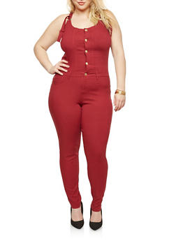 Plus Size Push Up Stretch Denim Jumpsuit - 1876056574262
