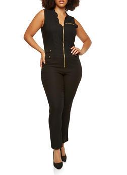 Plus Size Zip Up Stretch Jumpsuit - 1876056575021