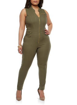 Plus Size Zip Up Stretch Jumpsuit - 1876056575021