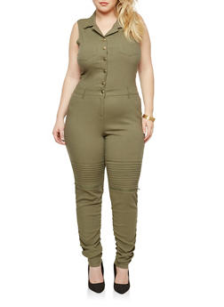 Plus Size Ruched Moto Button Front Jumpsuit - 1876056579645