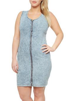 Plus Size Sleeveless Acid Wash Zip Front Dress,RINSE,medium