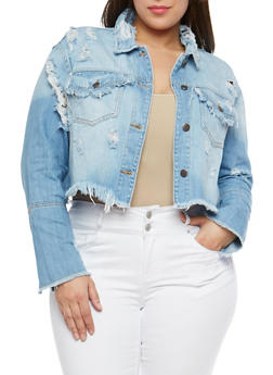 Plus Size Cello Cropped Distressed Denim Jacket - 1876063151141