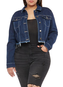Plus Size Cello Cropped Denim Jacket - 1876063151142