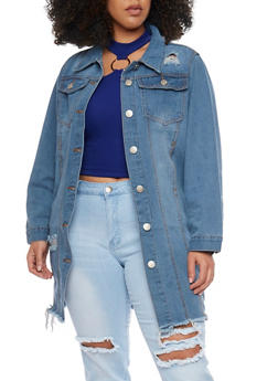 Plus Size Frayed Hem Long Denim Jean Jacket - 1876063403276