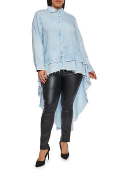 Plus Size Tiered High Low Button Front Shirt - 1876063406723
