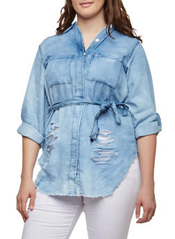 Plus Size Denim Button Front Tunic - 1876063406912