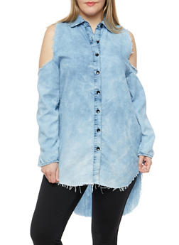 Plus Size Frayed Cold Shoulder Tunic Top - 1876063407040