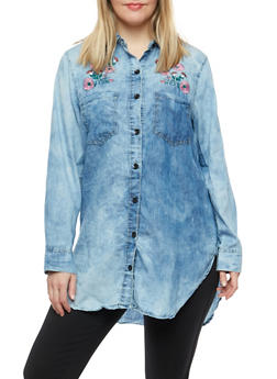 Plus Size Embroidered Denim Button Front Shirt - 1876063407046