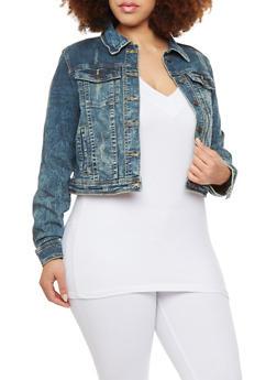 Plus Size Antique Wash Denim Jacket with Four Pockets - 1876069390995