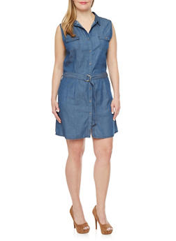 Plus Size Sleeveless Denim Dress with D Ring Belt - 1876069392390