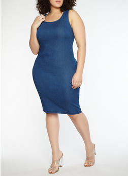 Plus Size Denim Tank Dress - 1876069393535