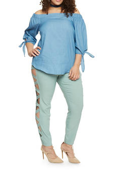 Plus Size Chambray Off the Shoulder Top with Tie Sleeves - 1876069398156