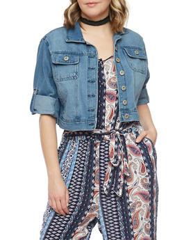 Plus Size Highway Jeans Cropped Denim Jacket - MEDIUM WASH - 1876071310738