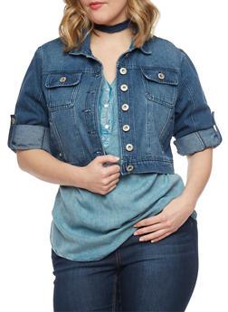 Plus Size Highway Jeans Cropped Denim Jacket - DARK WASH - 1876071310738
