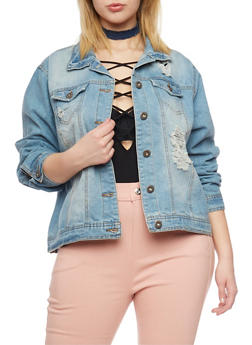 Plus Size Highway Jeans Distressed Denim Jacket - MEDIUM WASH - 1876071310785