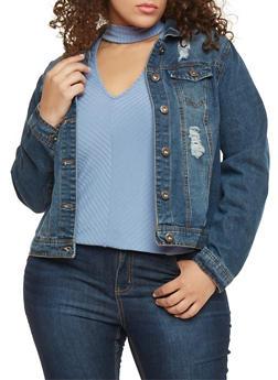 Plus Size Highway Jeans Distressed Denim Jacket - DARK WASH - 1876071310785