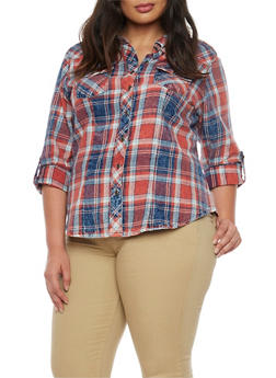 Plus Size Highway Jeans Plaid Denim Shirt - 1876071310911