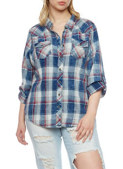 Plus Size Highway Jeans Denim Plaid Button Front Shirt - 1876071310913