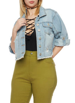 Plus Size Highway Jeans Cropped Denim Jacket with Frayed Hem - 1876071310945