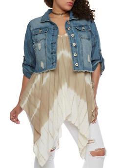 Plus Size Highway Jeans Cropped Denim Jacket with Frayed Hem - MEDIUM WASH - 1876071310945