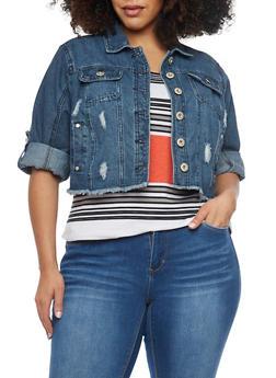 Plus Size Highway Jeans Cropped Denim Jacket with Frayed Hem - DARK WASH - 1876071310945